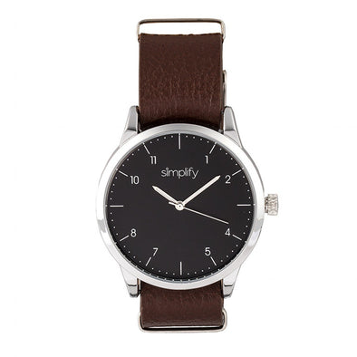 Simplify The 5600 Leather-Band Watch - Black/Brown SIM5603