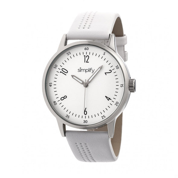 Simplify The 5700 Leather-Band Watch - White SIM5701