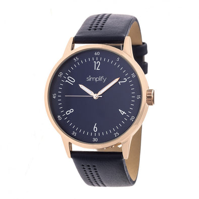 Simplify The 5700 Leather-Band Watch - Navy SIM5705