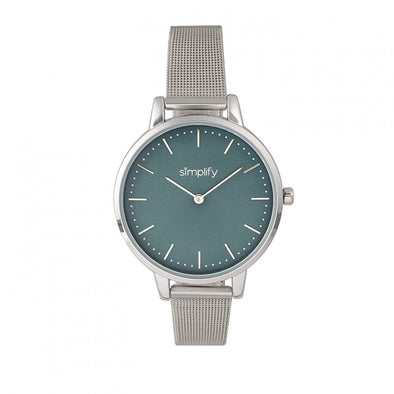 Simplify The 5800 Mesh Bracelet Watch - Silver/Teal SIM5802