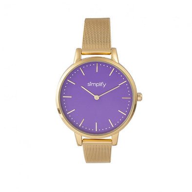 Simplify The 5800 Mesh Bracelet Watch - Gold/Purple SIM5804
