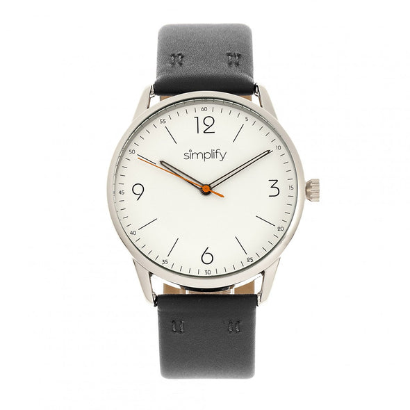 Simplify The 6300 Leather-Band Watch - Black/White SIM6301