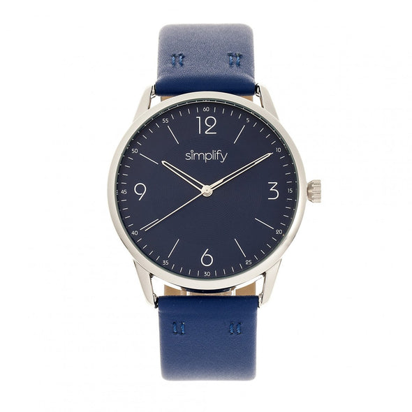 Simplify The 6300 Leather-Band Watch - Blue SIM6304