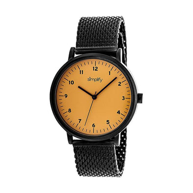 Simplify The 3200 Mesh-Bracelet Watch - Black/Orange SIM3207