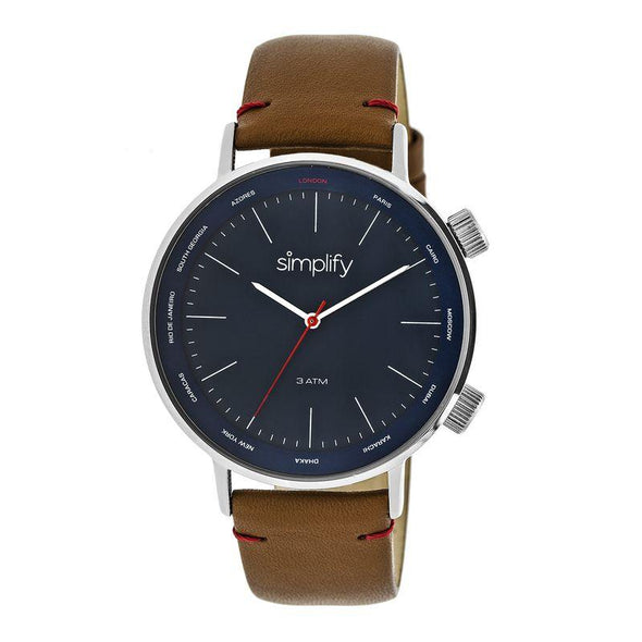 Simplify The 3300 Leather-Band Watch - Brown/Navy SIM3303