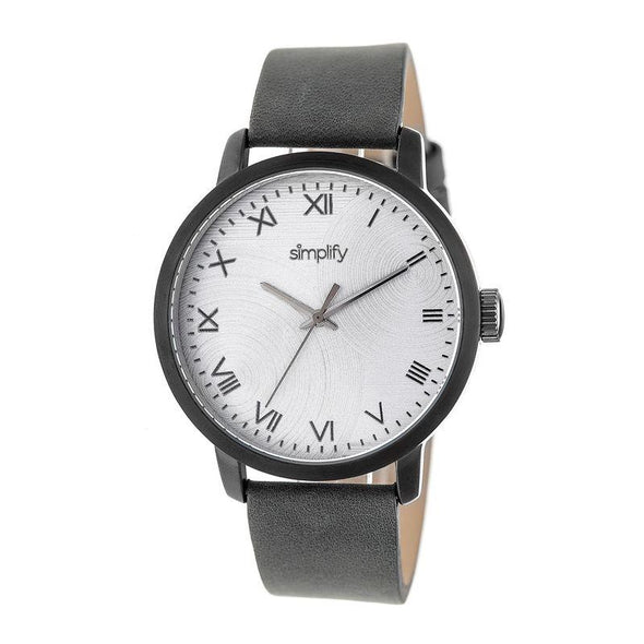 Simplify The 4200 Leather-Band Watch - Charcoal SIM4205