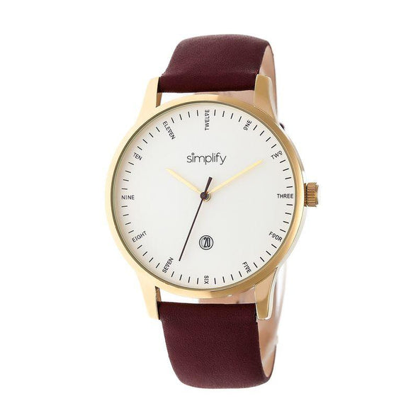 Simplify The 4300 Leather-Band Watch w/Date - Gold/Dark Brown SIM4306