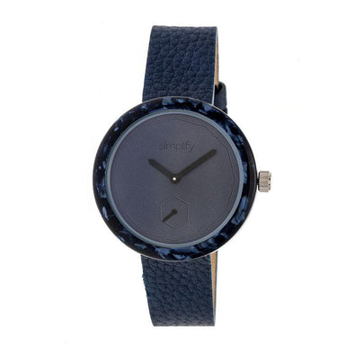 Simplify The 3700 Leather-Band Watch - Navy SIM3705