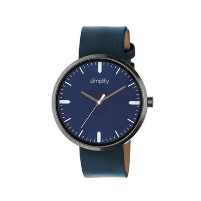 Simplify The 4500 Leather-Band Watch - Gunmetal/Navy SIM4505