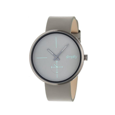 Simplify The 4400 Leather-Band Watch - Gunmetal/Grey SIM4405