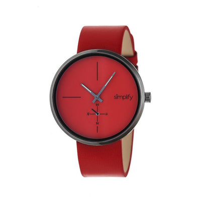 Simplify The 4400 Leather-Band Watch - Red SIM4406