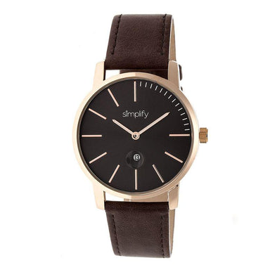 Simplify The 4700 Leather-Band Watch w/Date - Rose Gold/Dark Brown SIM4705