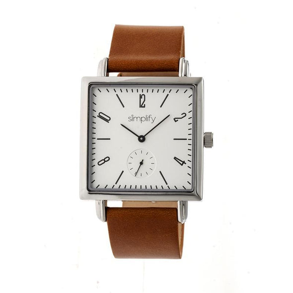 Simplify The 5000 Leather-Band Watch - Brown/White SIM5003