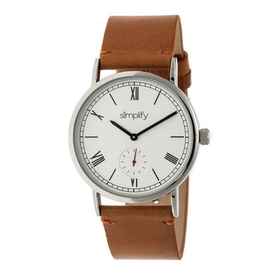 Simplify The 5100 Leather-Band Watch - Camel/White SIM5105