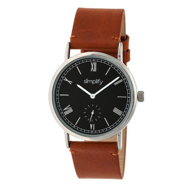 Simplify The 5100 Leather-Band Watch - Camel/Black SIM5106