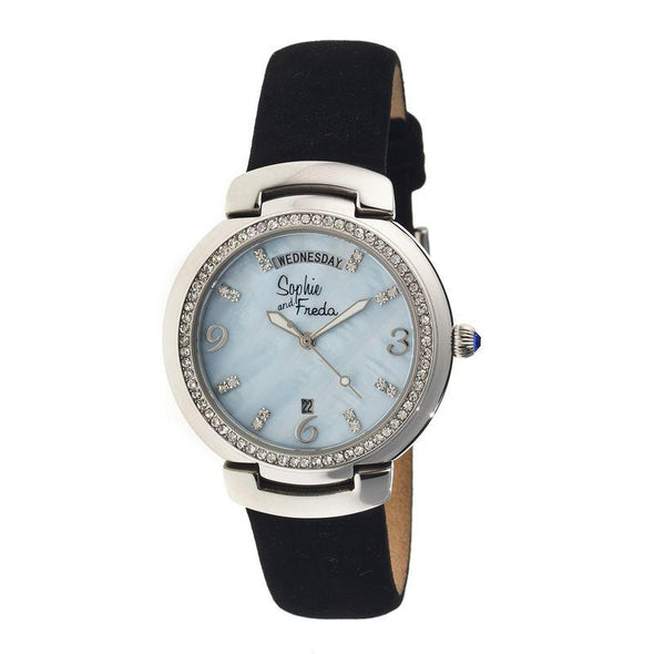 Sophie & Freda New Orleans MOP Leather-Band Watch - Silver/Powder Blue SAFSF4002
