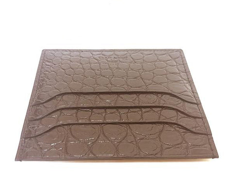 John Lobb Credit Card Case - Dark Brown Crocodile