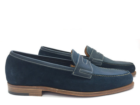 Paignton in Blue Suede and Blue Reversed Suede - Size 7E (Medium)