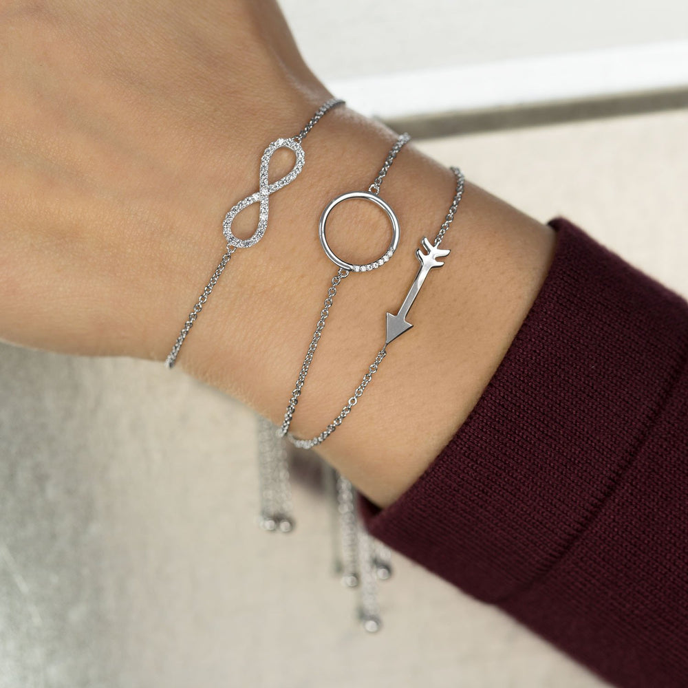 Load image into Gallery viewer, Rhodium Plated Arrow Friendship Bolo Bracelet