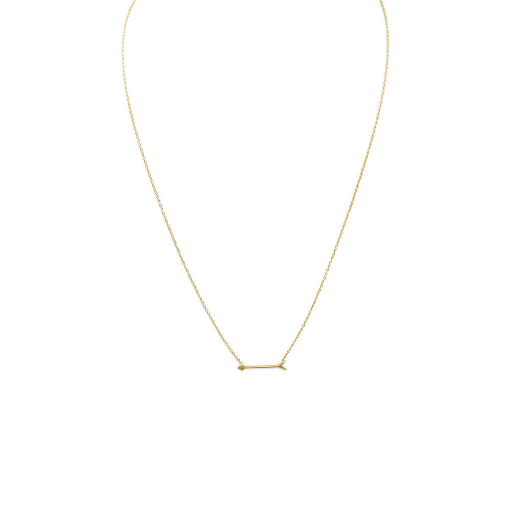 "Load image into Gallery viewer, 16"" + 2"" 14 Karat Gold Plated Arrow Design Necklace"