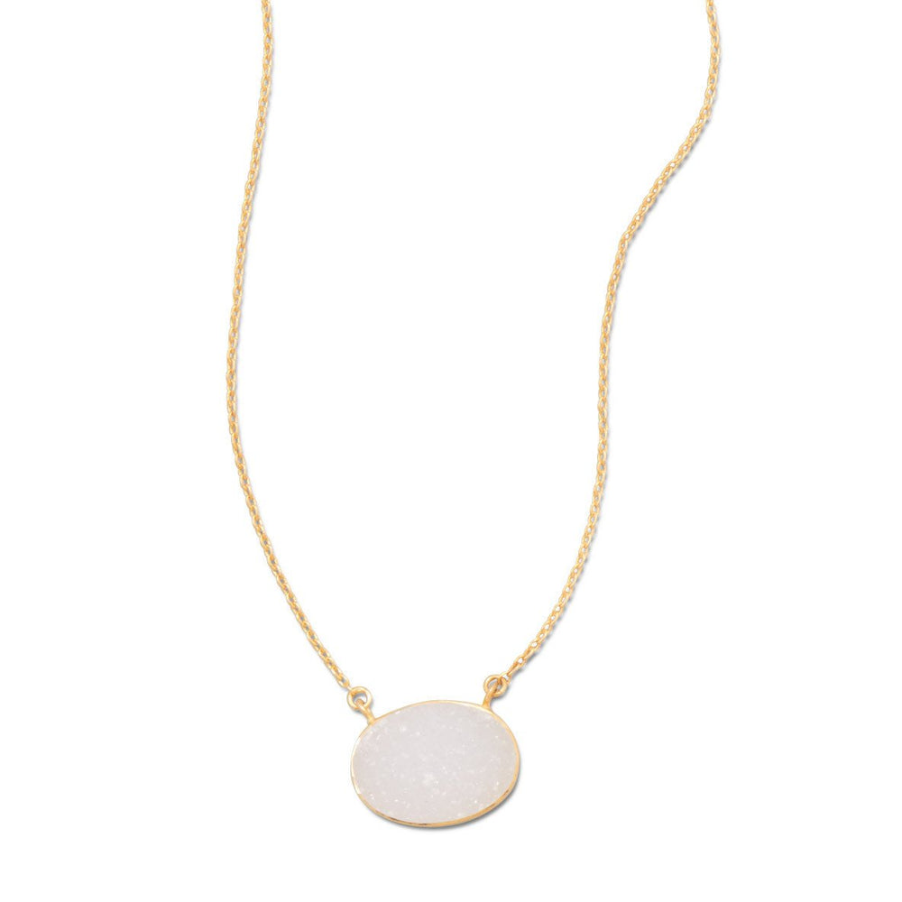 "16"" + 2"" 14 Karat Gold Plated White Druzy Necklace"