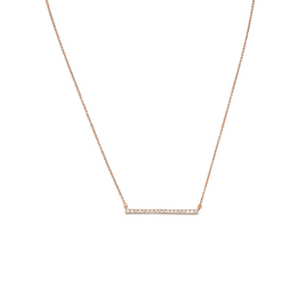 14 Karat Rose Gold Plated CZ Bar Necklace