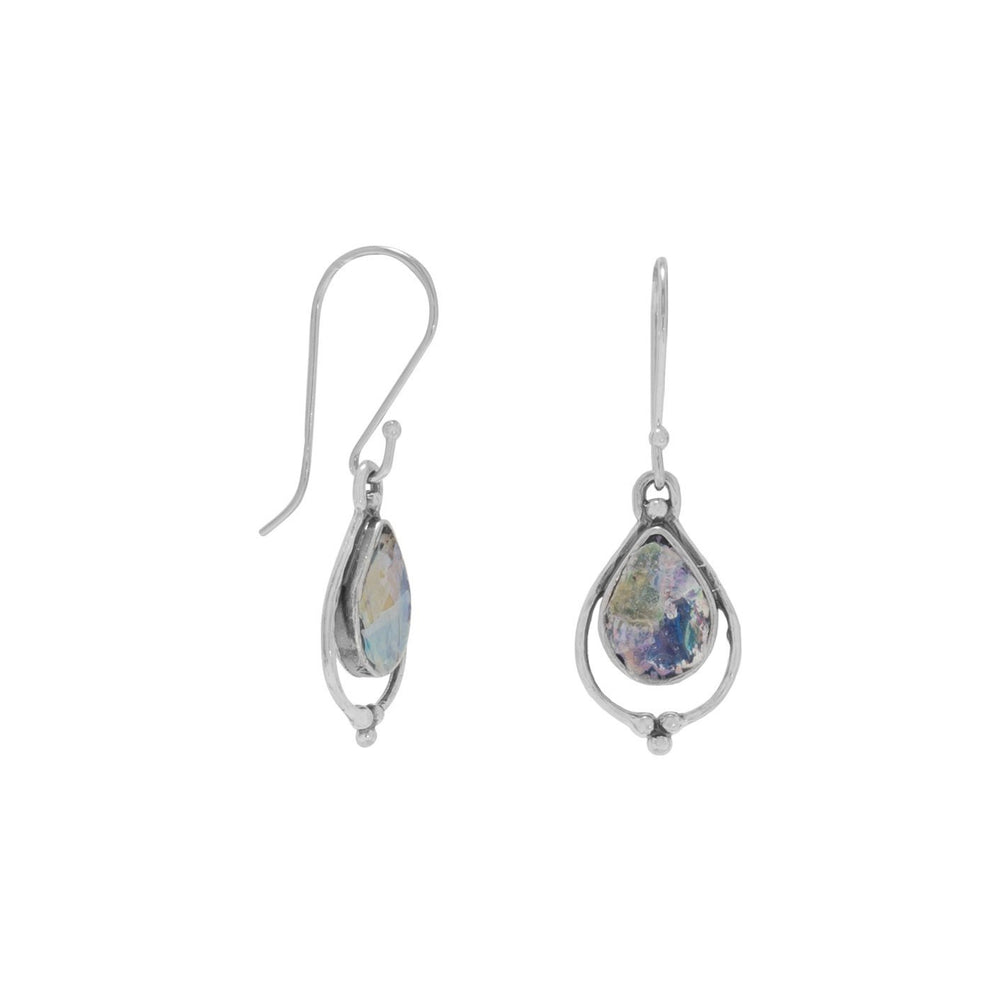 Load image into Gallery viewer, Pear Shape Roman Glass Earrings