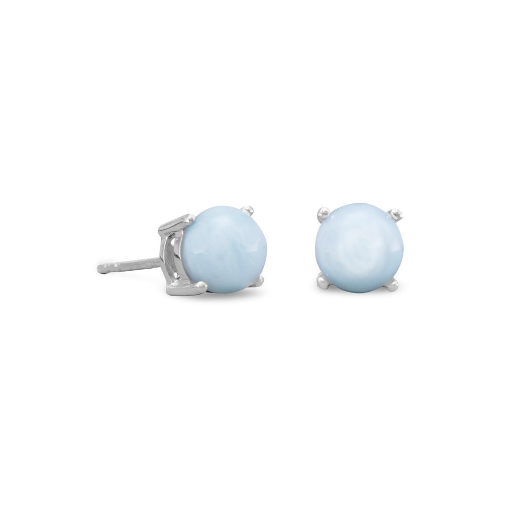 Load image into Gallery viewer, Rhodium Plated Larimar Stud Earrings