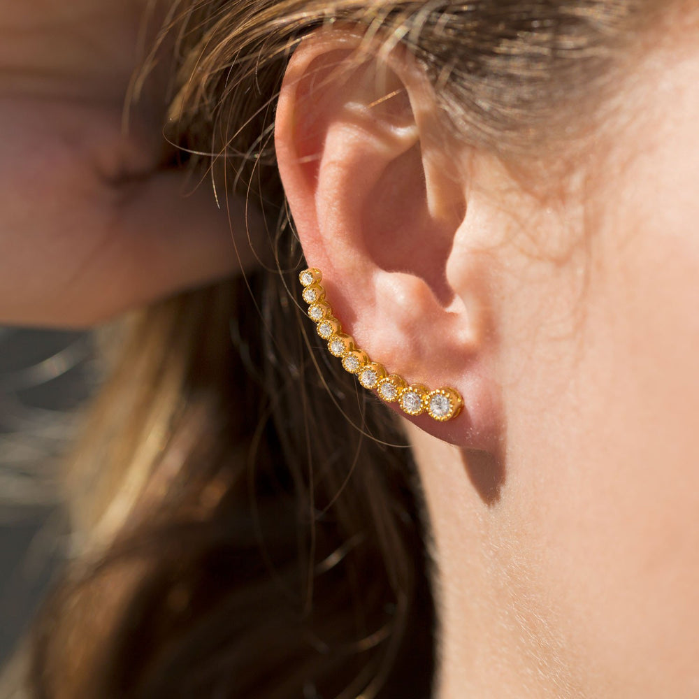 Load image into Gallery viewer, Textured 14 Karat Gold Plated Bezel CZ Ear Climbers