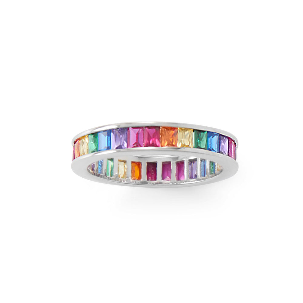 Load image into Gallery viewer, Rhodium Plated Rainbow CZ Ring