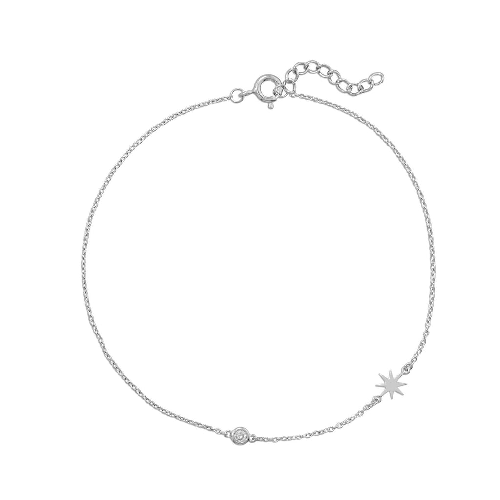 Pedi Perfect! Rhodium Plated Starburst Anklet