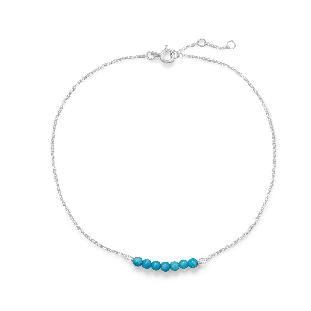 Blue Howlite Bead Bar Anklet