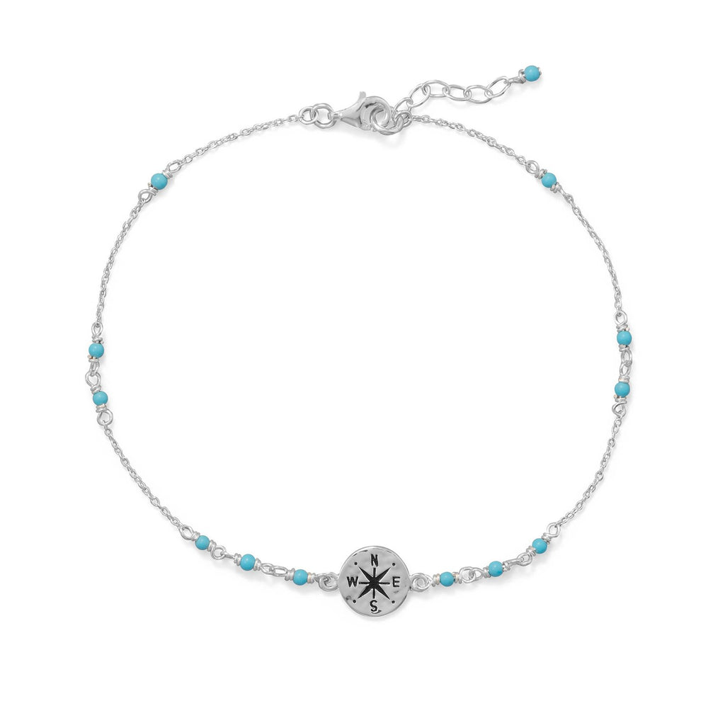 "9.25""+.75"" Blue Beaded Anklet with Compass Charm"