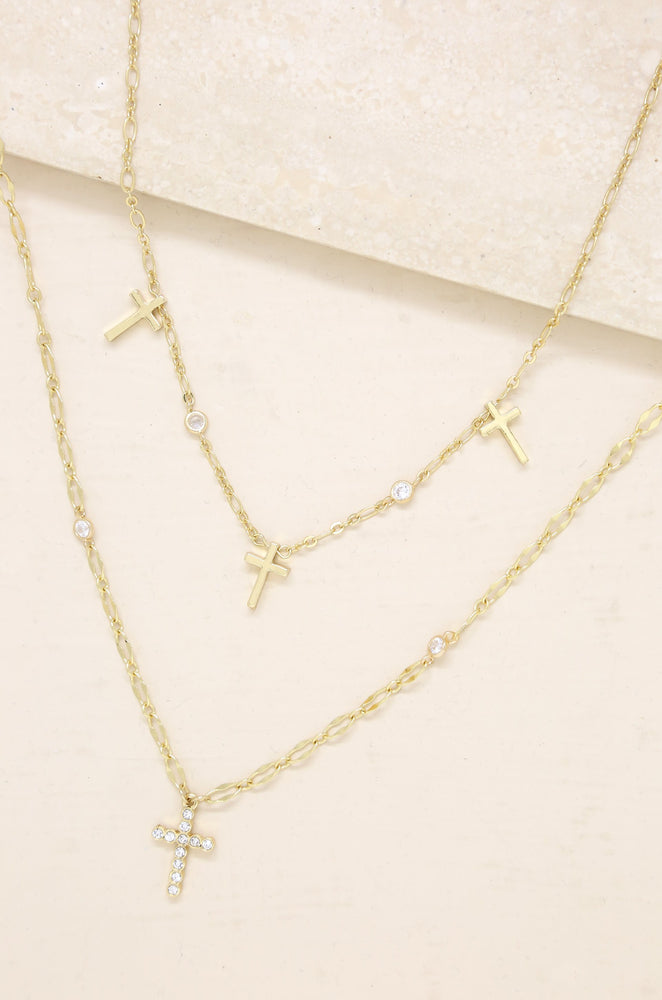The Trinity Cross 18k Gold Plated Necklace Set