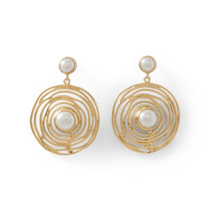 Load image into Gallery viewer, 14 Karat Gold Plated Brass Cultured Freshwater Pearl Fashion Earrings