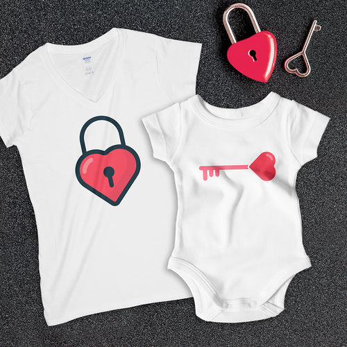 """Key to Heart"" Matching womens Set for Mother and daughter"