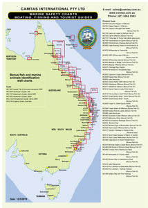 QLD Boating, Fishing, Camtas Marine Safety Chart - CAIRNS to LIZARD ISLAND, GREAT BARRIER REEF REGION / MC730