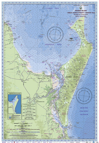 QLD Boating, Fishing, Camtas Marine Safety Chart - FRASER ISLAND, GREAT SANDY STRAIT, HERVEY BAY/ MC600