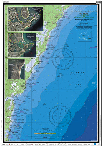NSW Boating, Fishing, Camtas Marine Safety Chart - PORT JACKSON  to NEWCASTLE / MC410