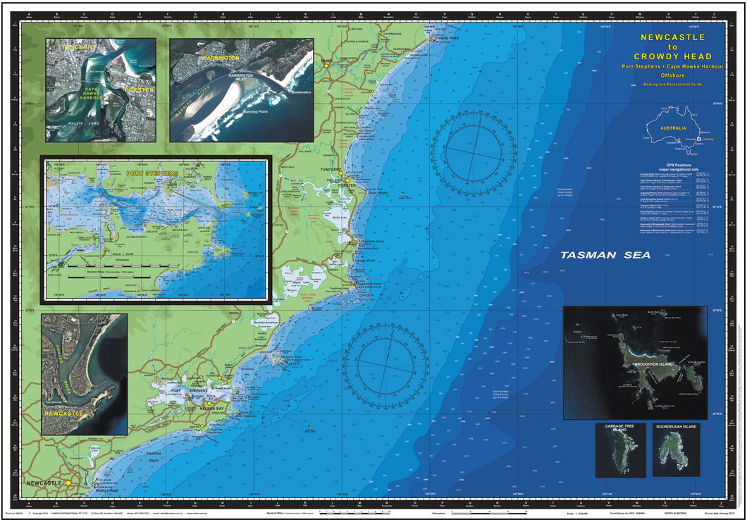 NSW Boating, Fishing, Camtas Marine Safety Chart - NEWCASTLE to CROWDY HEAD / MC440
