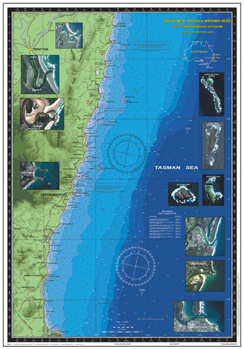 NSW Boating, Fishing, Camtas Marine Safety Chart - SOUTH WEST ROCKS to BROOMS HEAD, Coffs Harbour Region / MC460