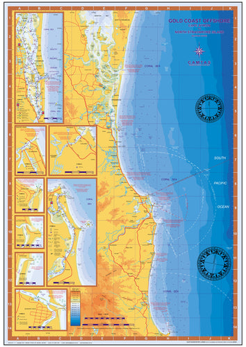 NSW / QLD Boating, Fishing, Camtas Marine Safety Chart - CAPE BYRON to NORTH STRADBROKE ISLAND, Gold Coast Offshore / MC480