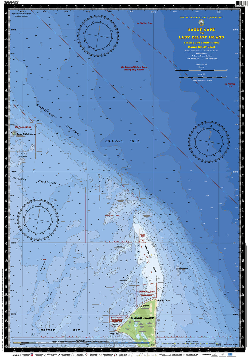 QLD Boating, Fishing, Camtas Marine Safety Chart - SANDY CAPE to LADY ELLIOT ISLAND / MC614