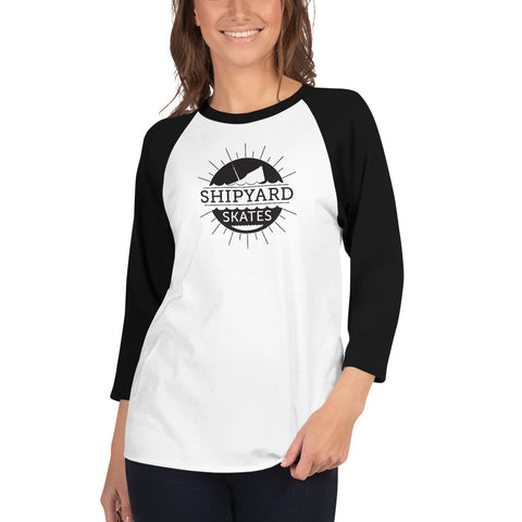 "Shipyard Skates ""DOWN WITH FINE-CO"" 3/4 sleeve women's raglan shirt"