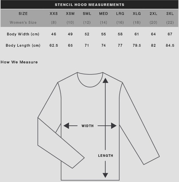 POISON ARROW HOODIE SIZE CHART