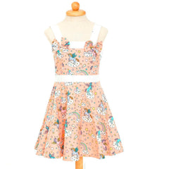 peach unicorn rockabilly girls dress poison arrow retro