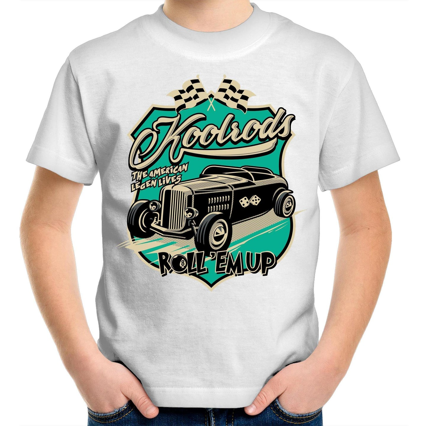 KOOLRODS TURQUOISE Kids Youth Crew T-Shirt 2-14