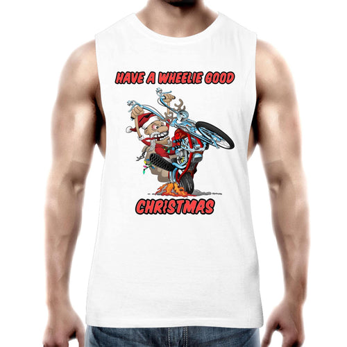HAVE A WHEELIE GOOD CHRISTMAS - Mens Tank Top Tee XS-2XL