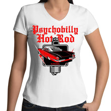 Load image into Gallery viewer, PSYCHOBILLY HOTROD - Womens V-Neck T-Shirt 8-16
