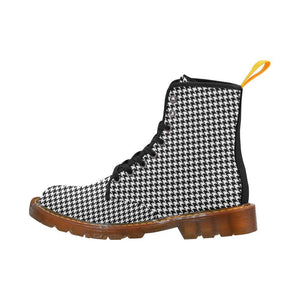 Houndstooth Check Women's Lace Up Combat Boots